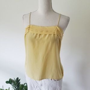 Vintage 70's Yellow Silk Cami Top Button Back